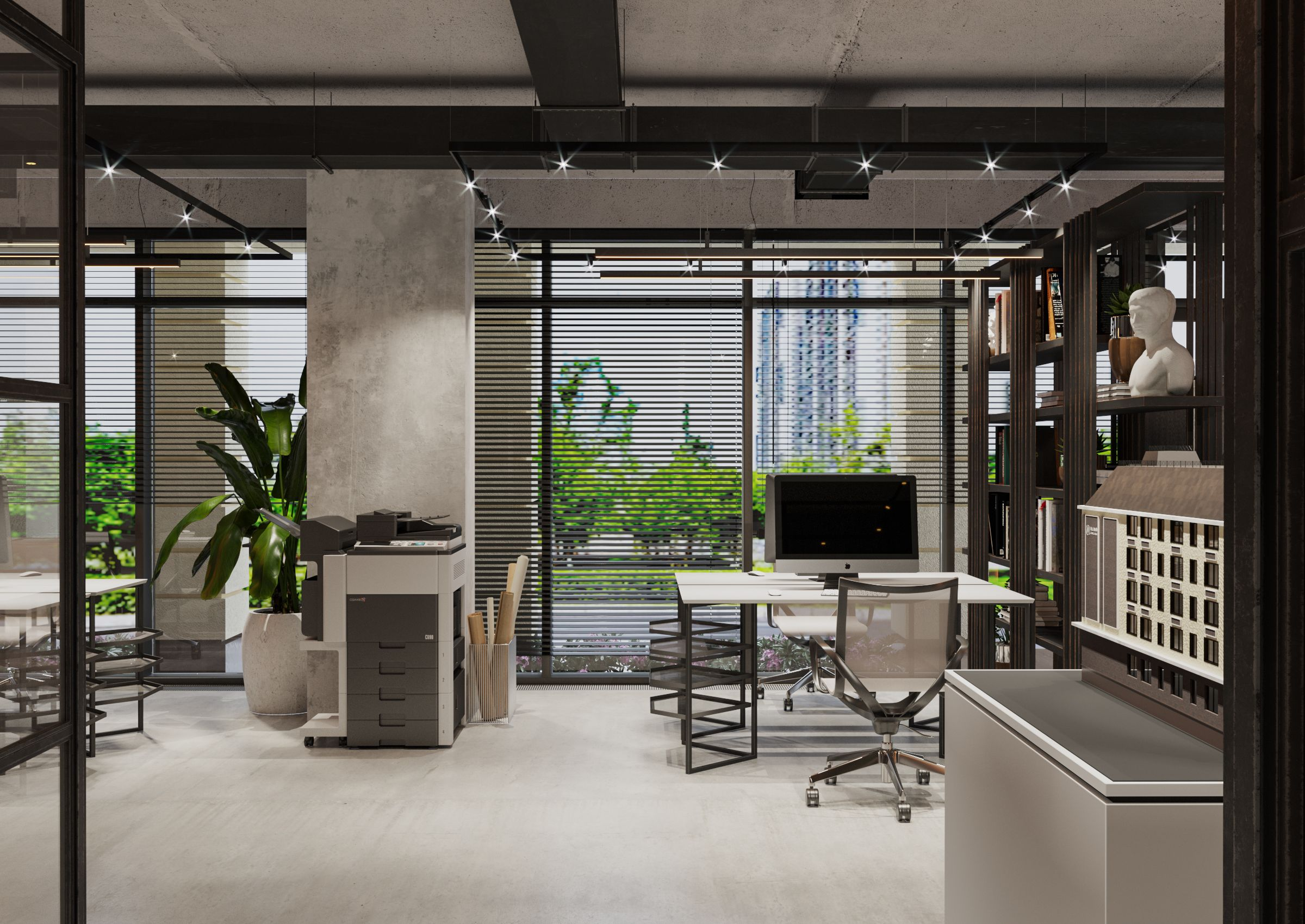 NG Imobil Office - rigour, loft and classic decoration elements