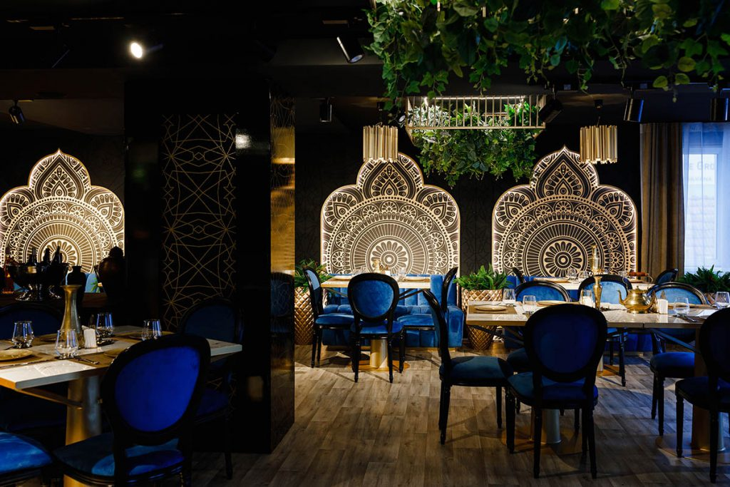Interior for restaurants in blue and gold colors
