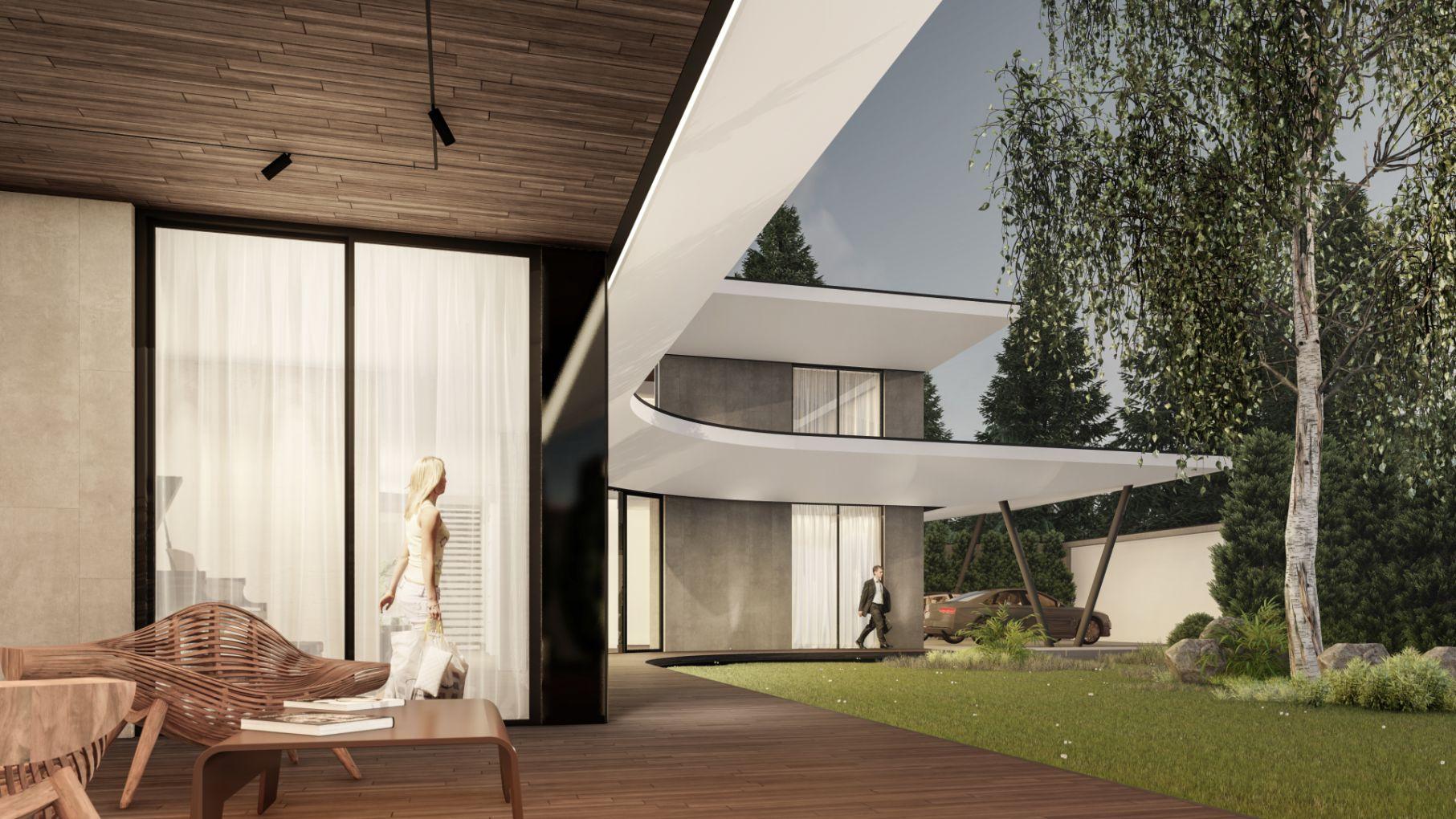 Proiect de arhitectură de casă cu curi deschise și copertina deschisa de sus