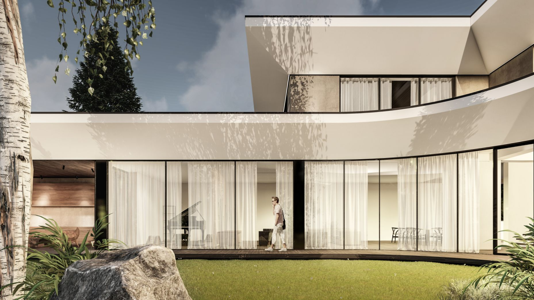 Proiect de arhitectură și design modern in culori deschise și geamuri mari pentru senzație de aerisire