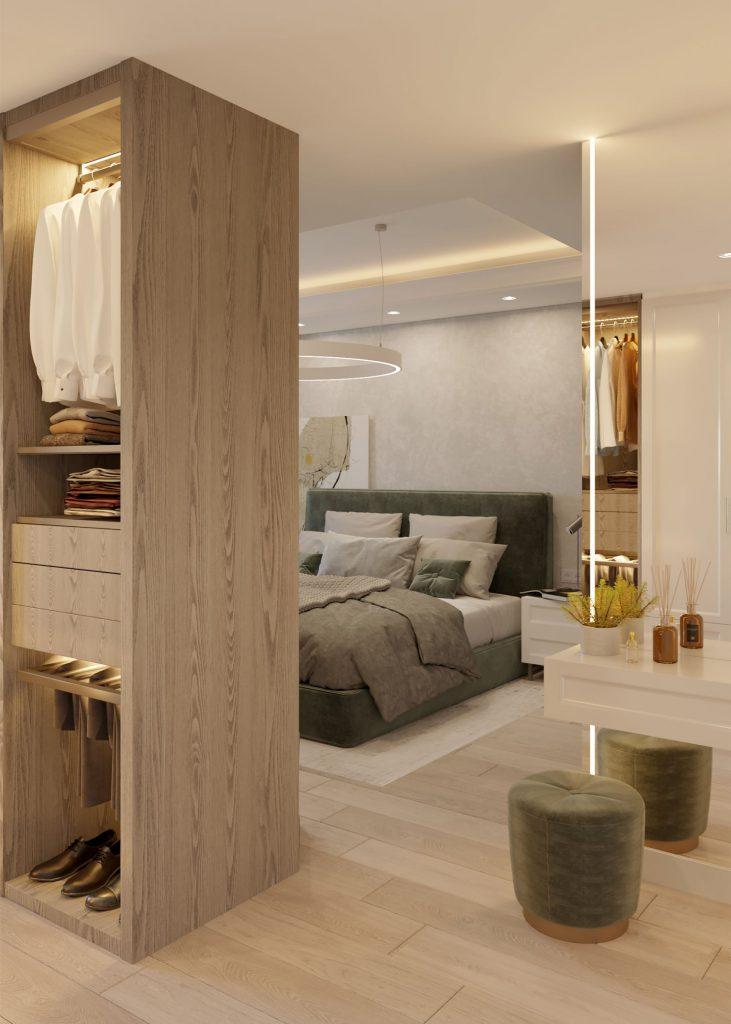 dormitor amenajat in stil contemporan