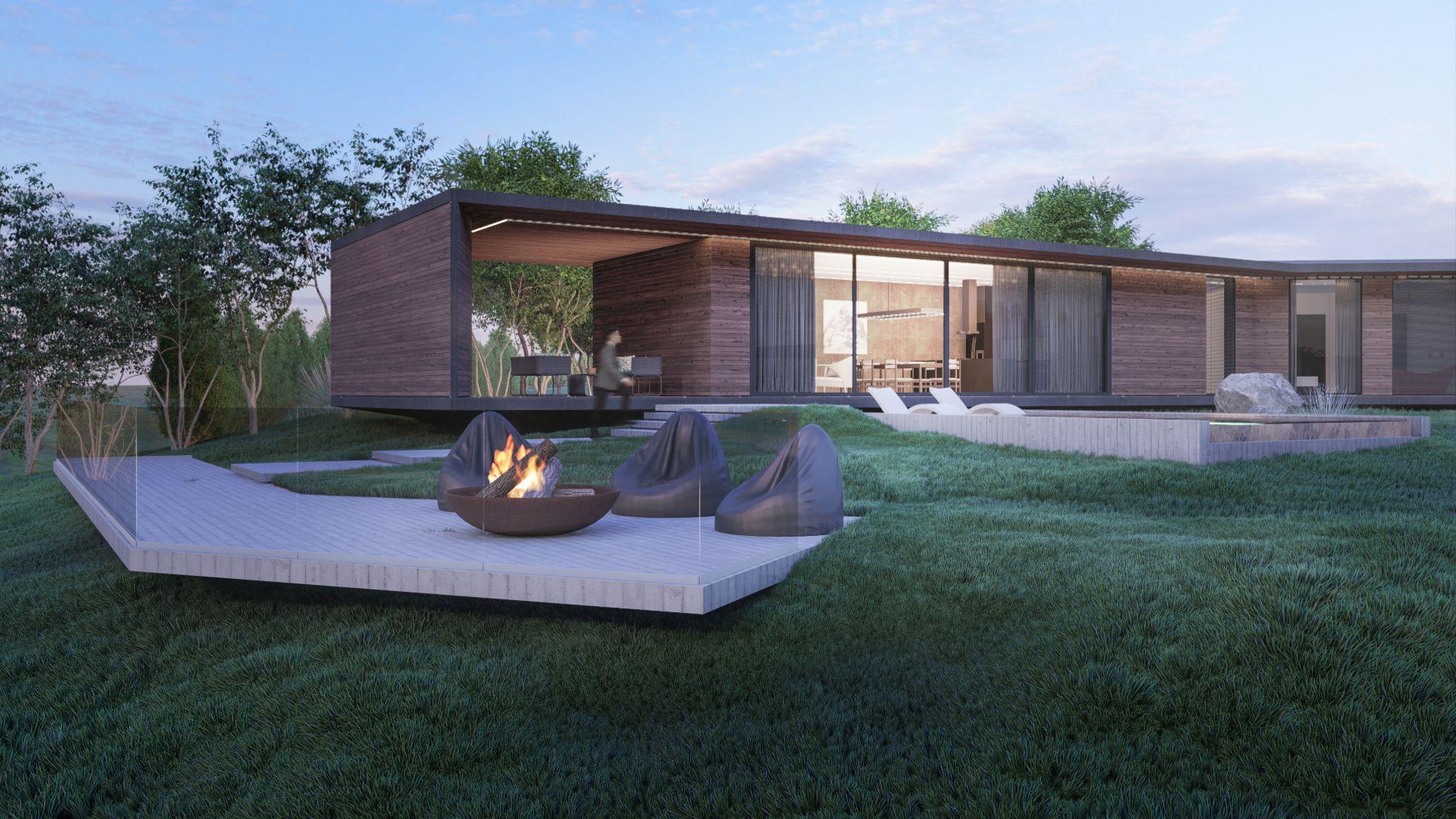 Proiect arhitectural și design pentru o casă modernă intr-o zonă pitrească rurală