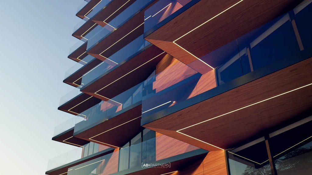 Proiect de complex rezidențial de lux cu design exterior din sticlă și panouri ce imită lemnul