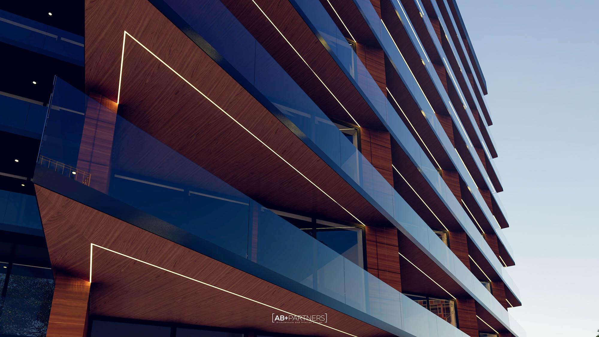 Complex rezidențial clasa lux cu balcoane imense și geamuri mari pentru a permite patrunderea de lumina naturală