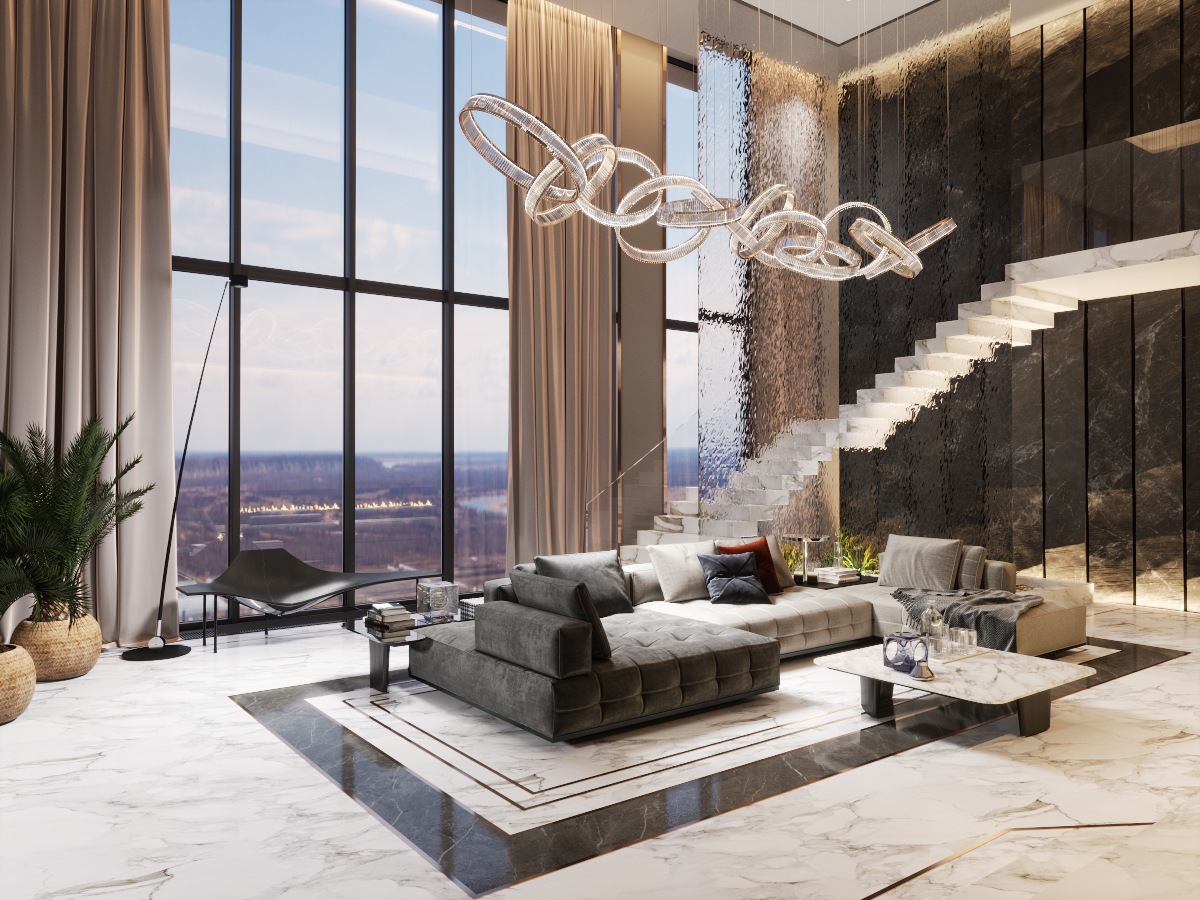The penthouse of subtle elegance - interior design of contemporary style
