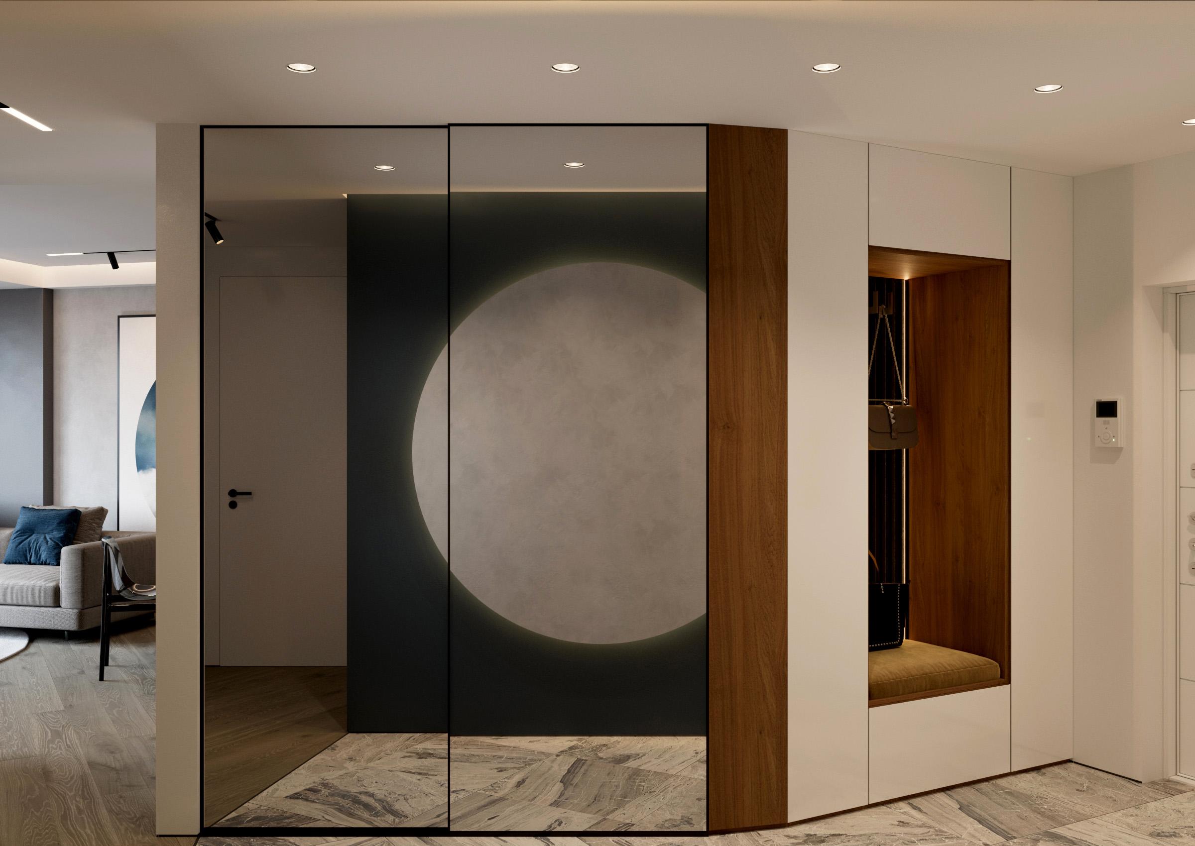 Hol cu oglinda de perete ca element de decor
