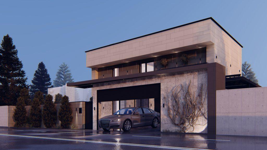 Design interior casă modernă cu spațiu de parcare