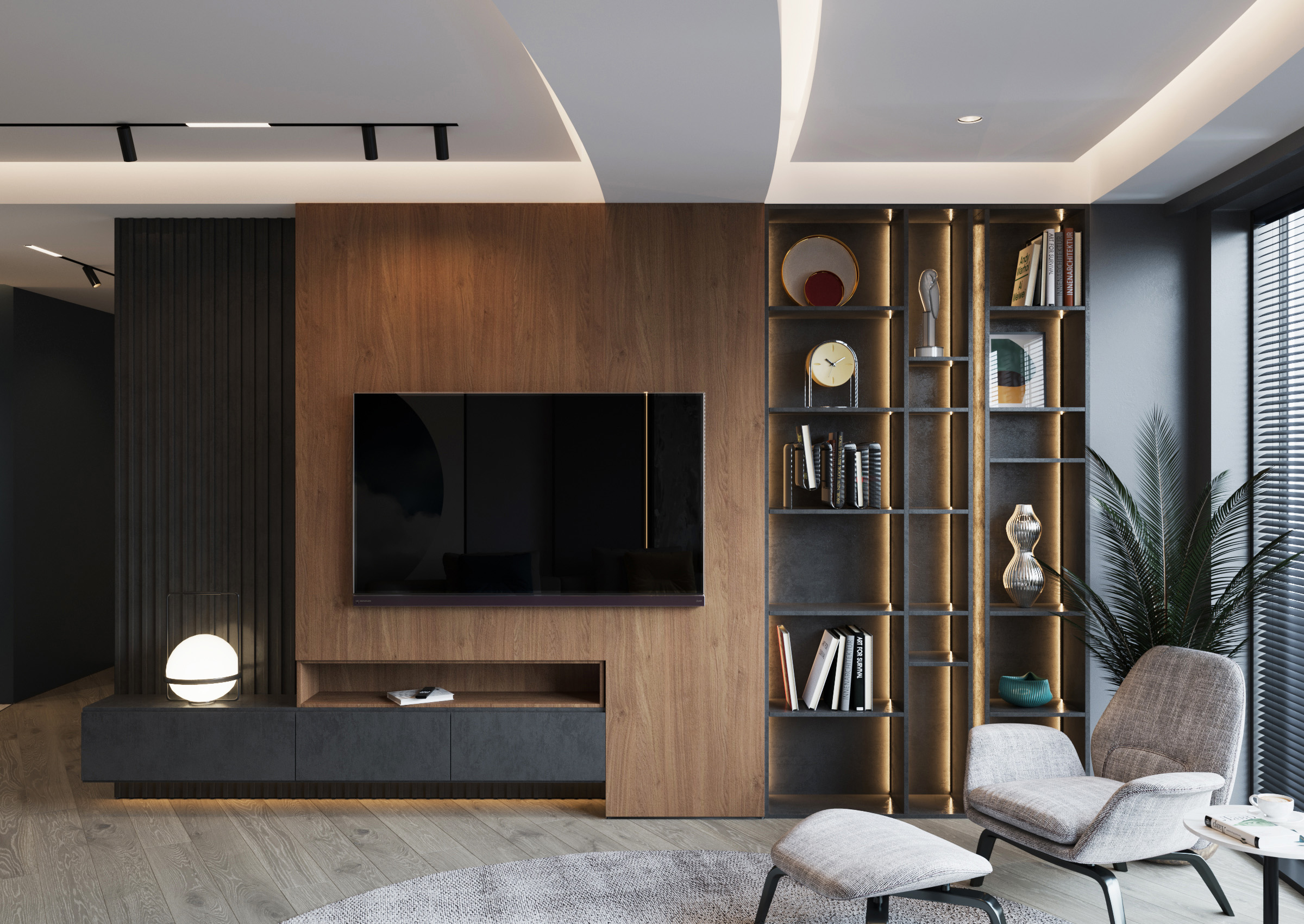 Camera de odihna cu pereti de si mobilier de culoarea antracit