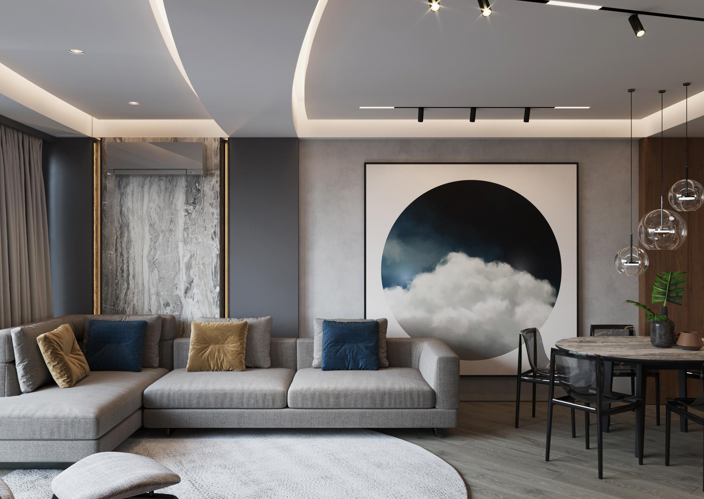 Camera de living cu corpuri de iluminat de la tavan
