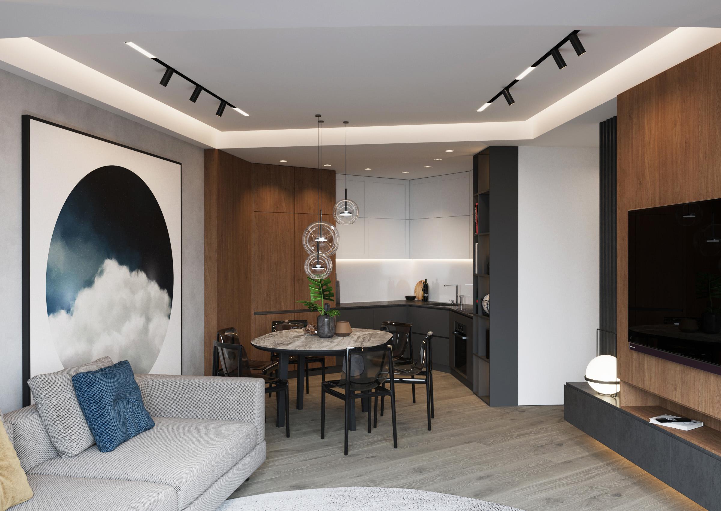 Living room panouri tencuite cu efect de beton și luminare Led