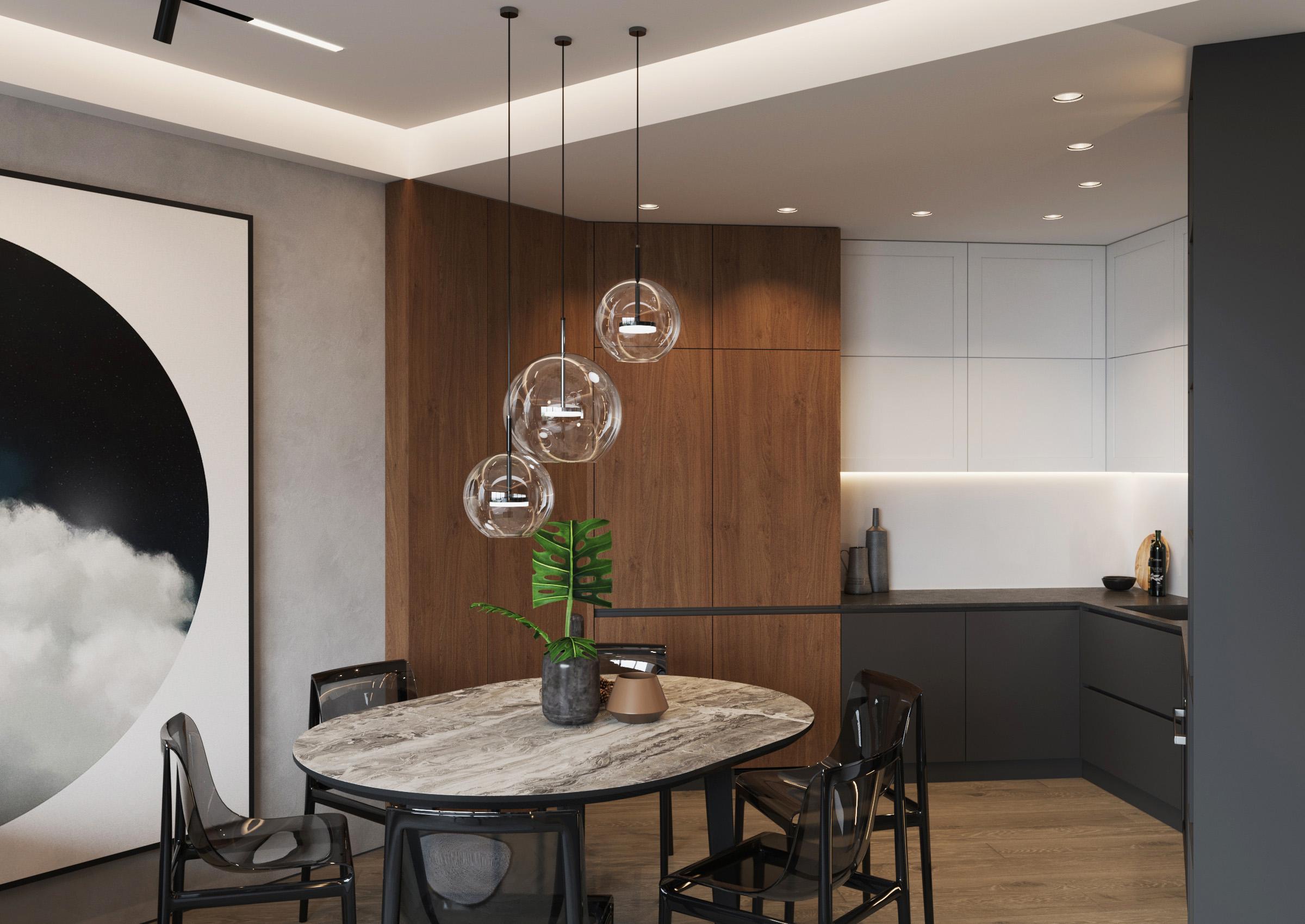Bucătărie în stil modern cu corpuri de iluminat din tavan