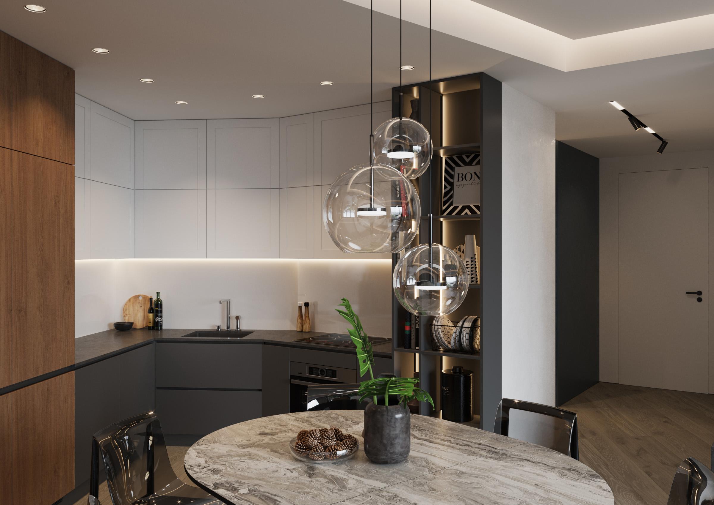 Bucătărie cu loc pentru luat masa, cu accent de decor pe lemn