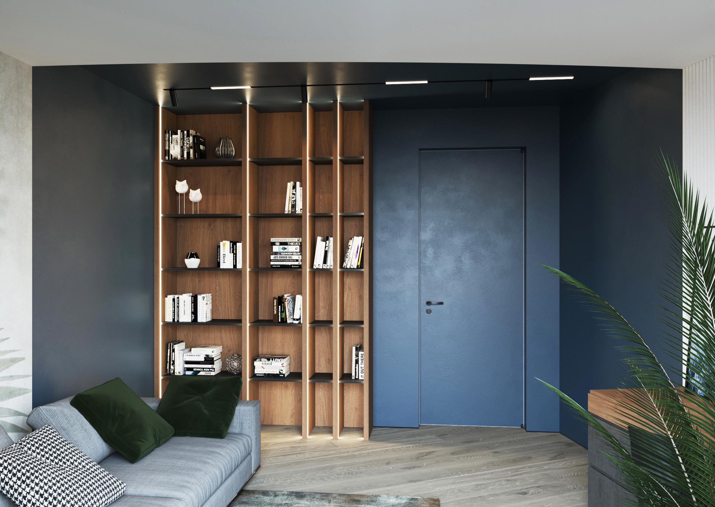 Cameră de odihnă pentru aspeți cu efect de beton și luminare Led pe un fundal de un albastru intens pe pereți