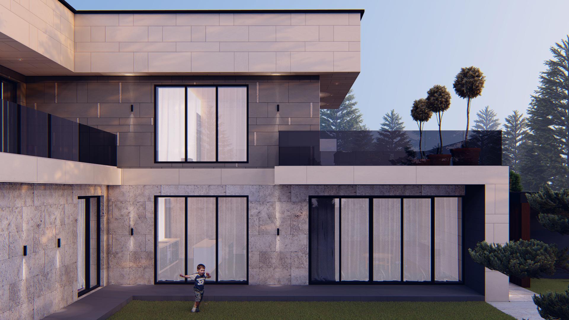 Proiect arhitectural pentru casa modernă cu curte interioară și teren de joacă pentru copii