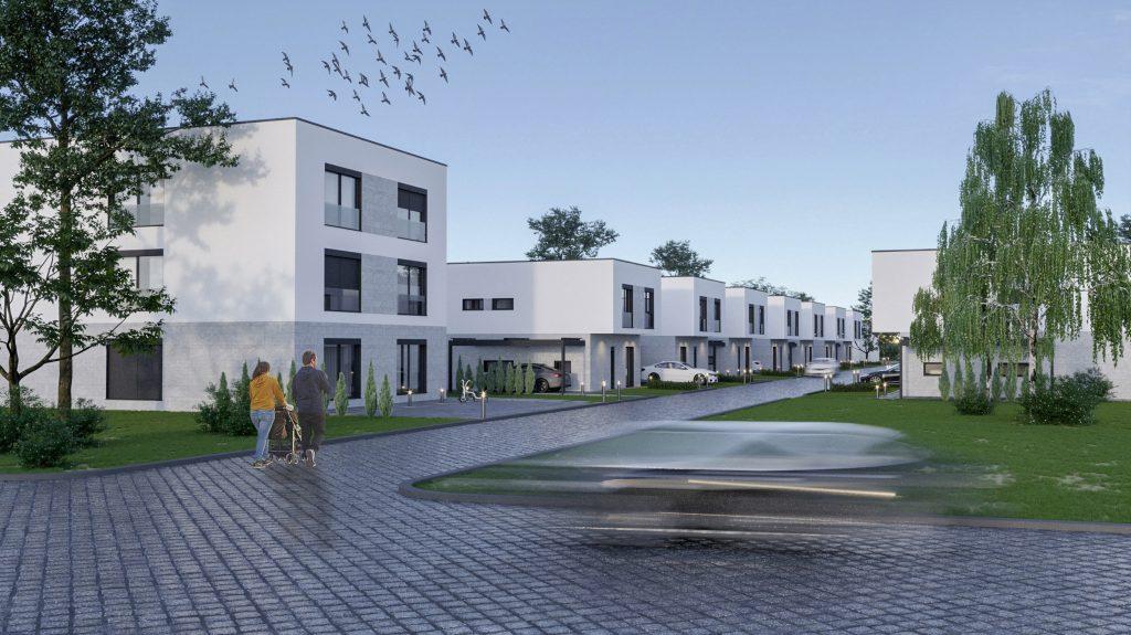 Complez rezidențial cu locuri de parcare și drumuri pavate