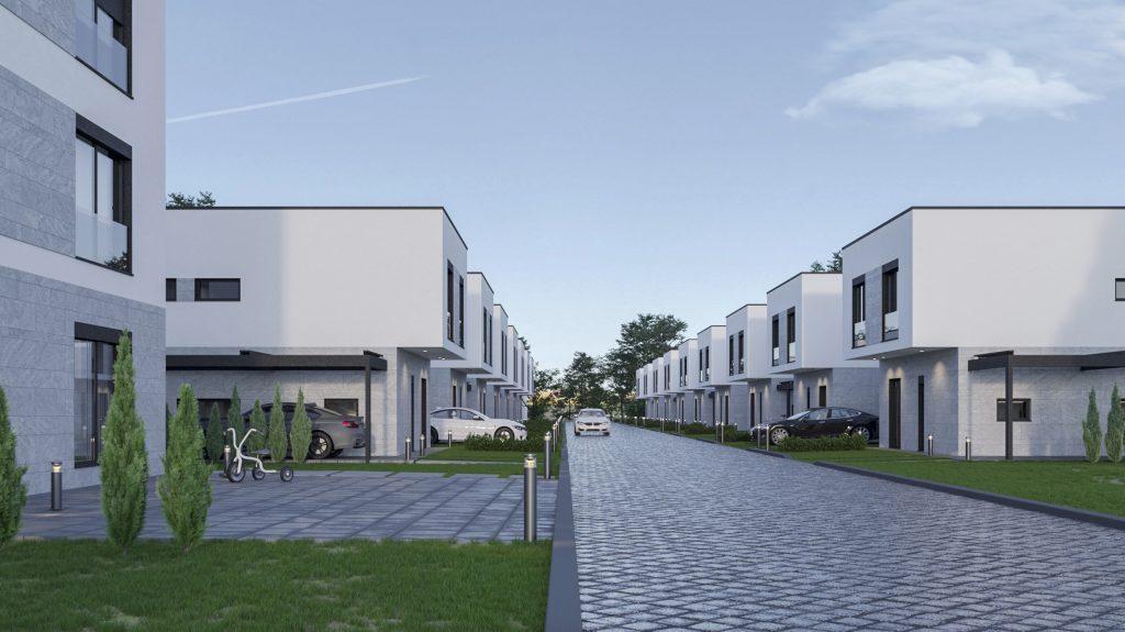 Blocurile din zona rezidențială din apropierea orașului german Stuttgart.