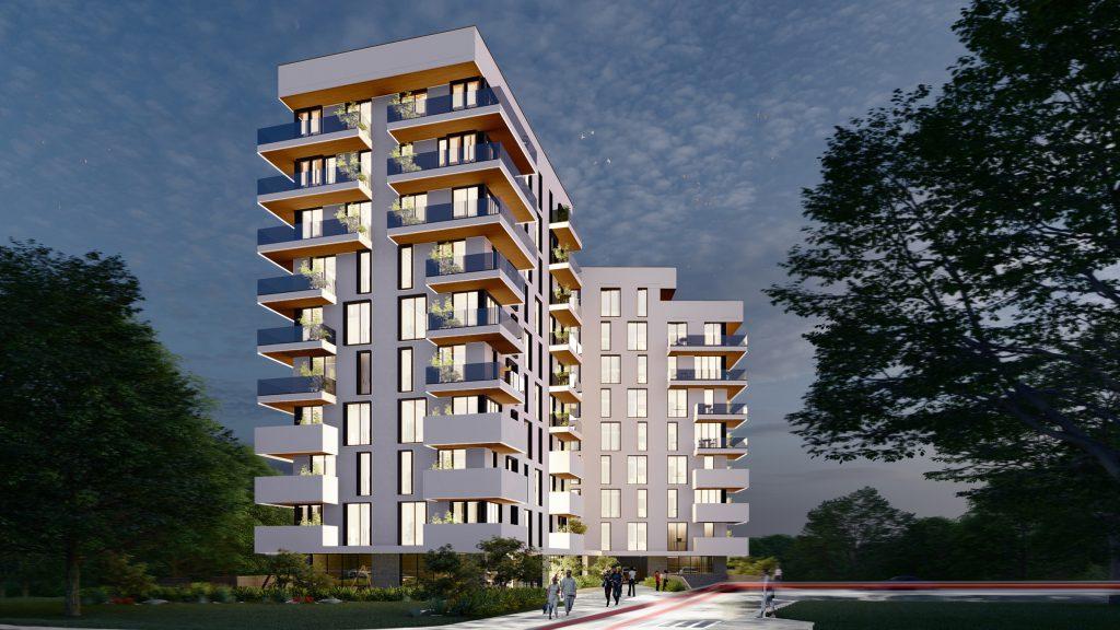 Bloc de locuit în stil minimalist cu arhitectură modernă