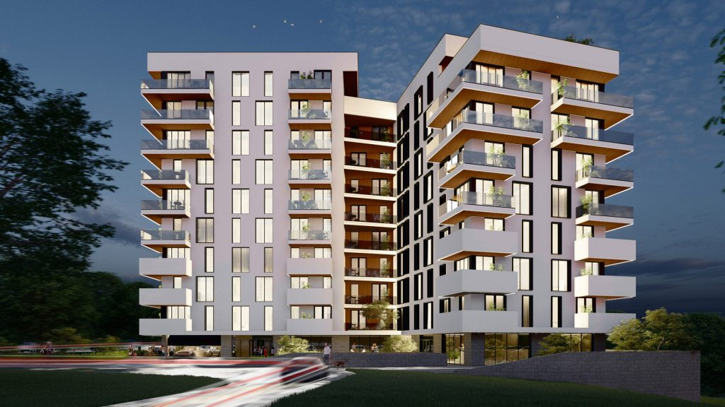 Proiect de bloc locativ in stil modern cu locuri de parcare și un teren de joacă