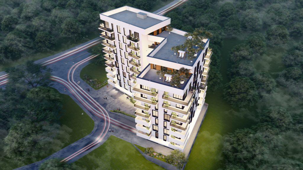 Bloc de locuit proiectat in stil modern cu ferestre largi pentru asigurarea fiecărui apartament cu lumină naturală