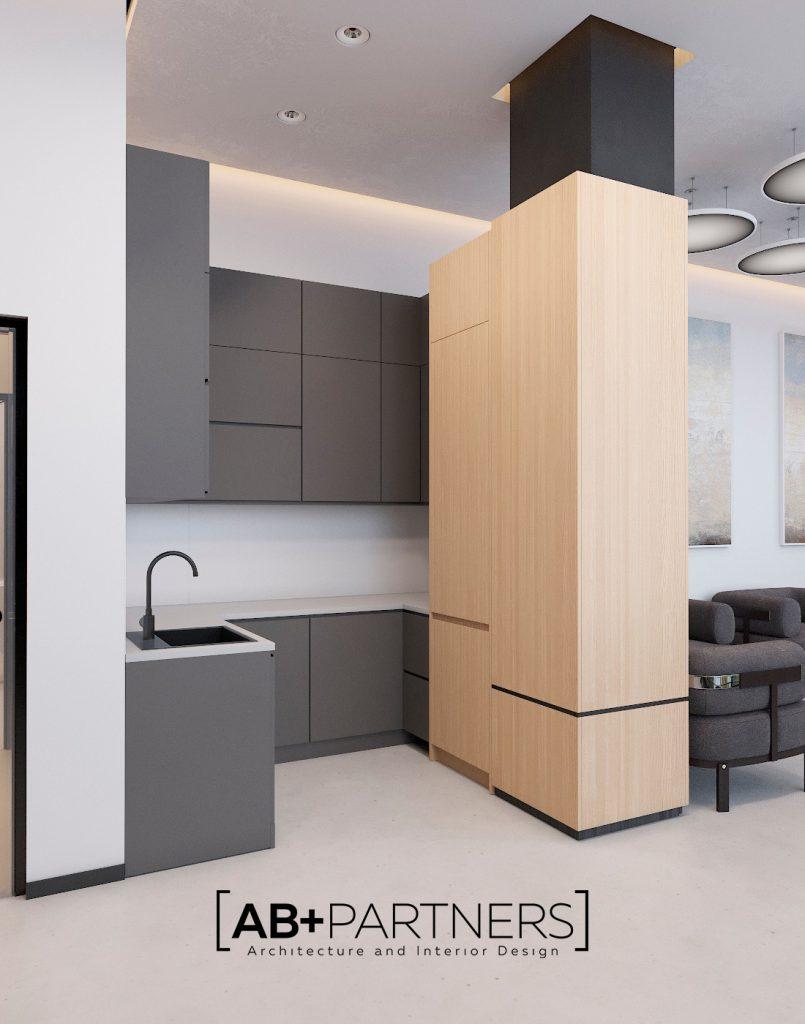 Amenajarea bucatariei la oficiu. Design interior modern, ecologic si comod Chisinau de la biroul de arhitectura AB+Partners
