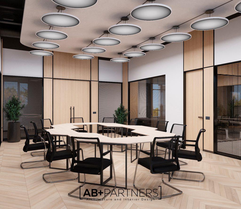 Desing interior pentru meeting room, oficii moderne in stil minimalist Chisinau