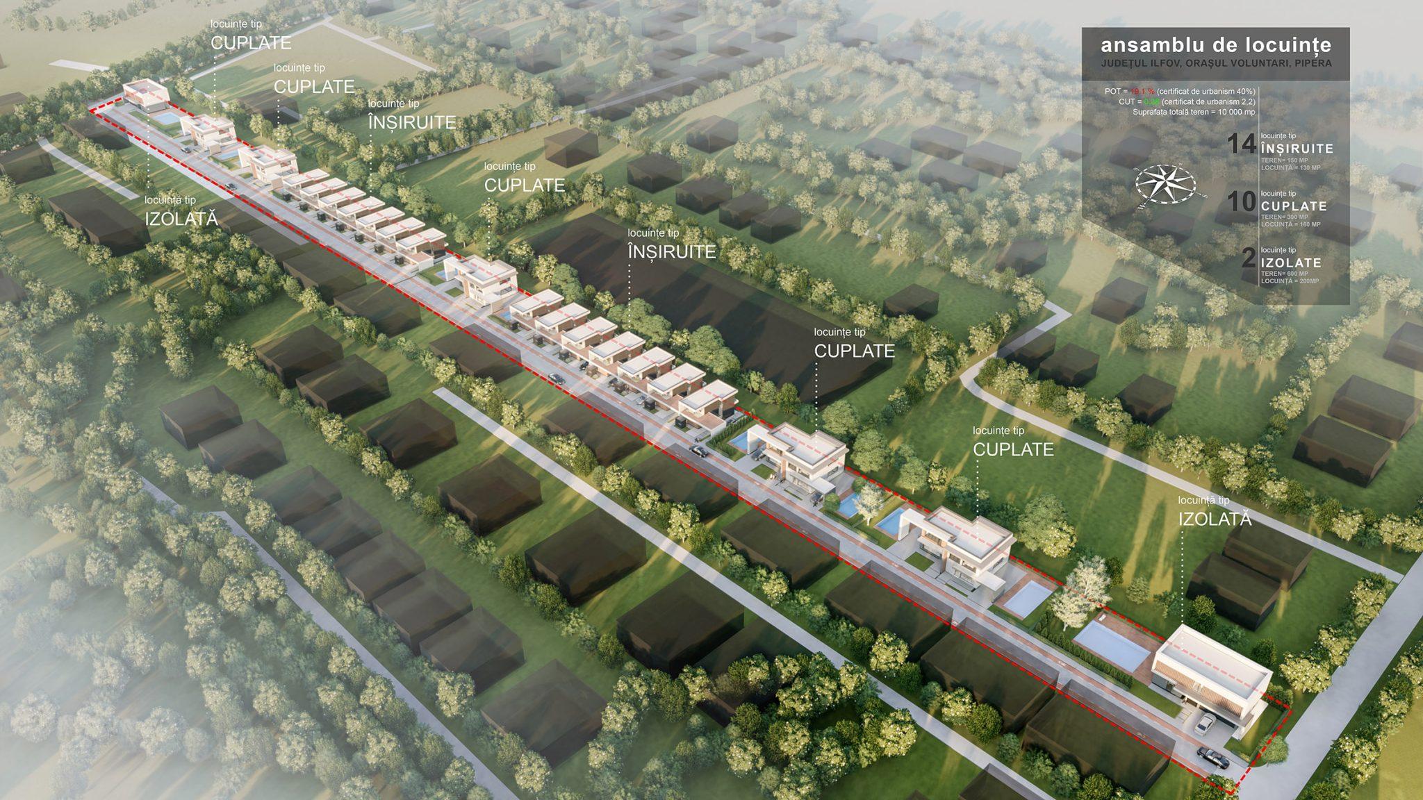 Proiecte de arhitectura pentru ansamblu de case individuale