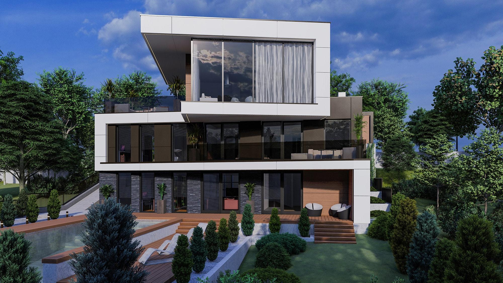 EXQUISITE HOUSE stilului modern in designul casei contemporane cu bazin