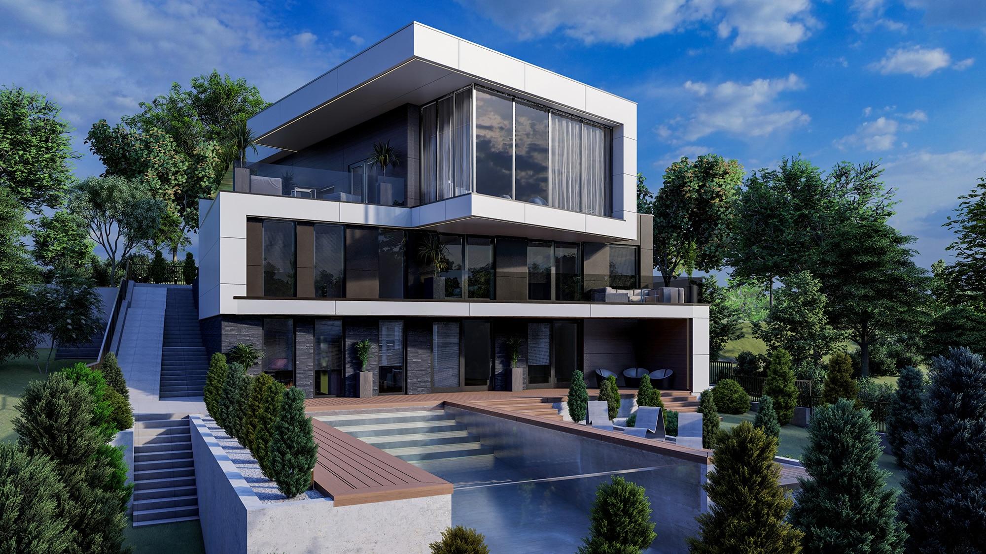 Stil contemporanpentru arhitectura casei cu bazin in Chisinau