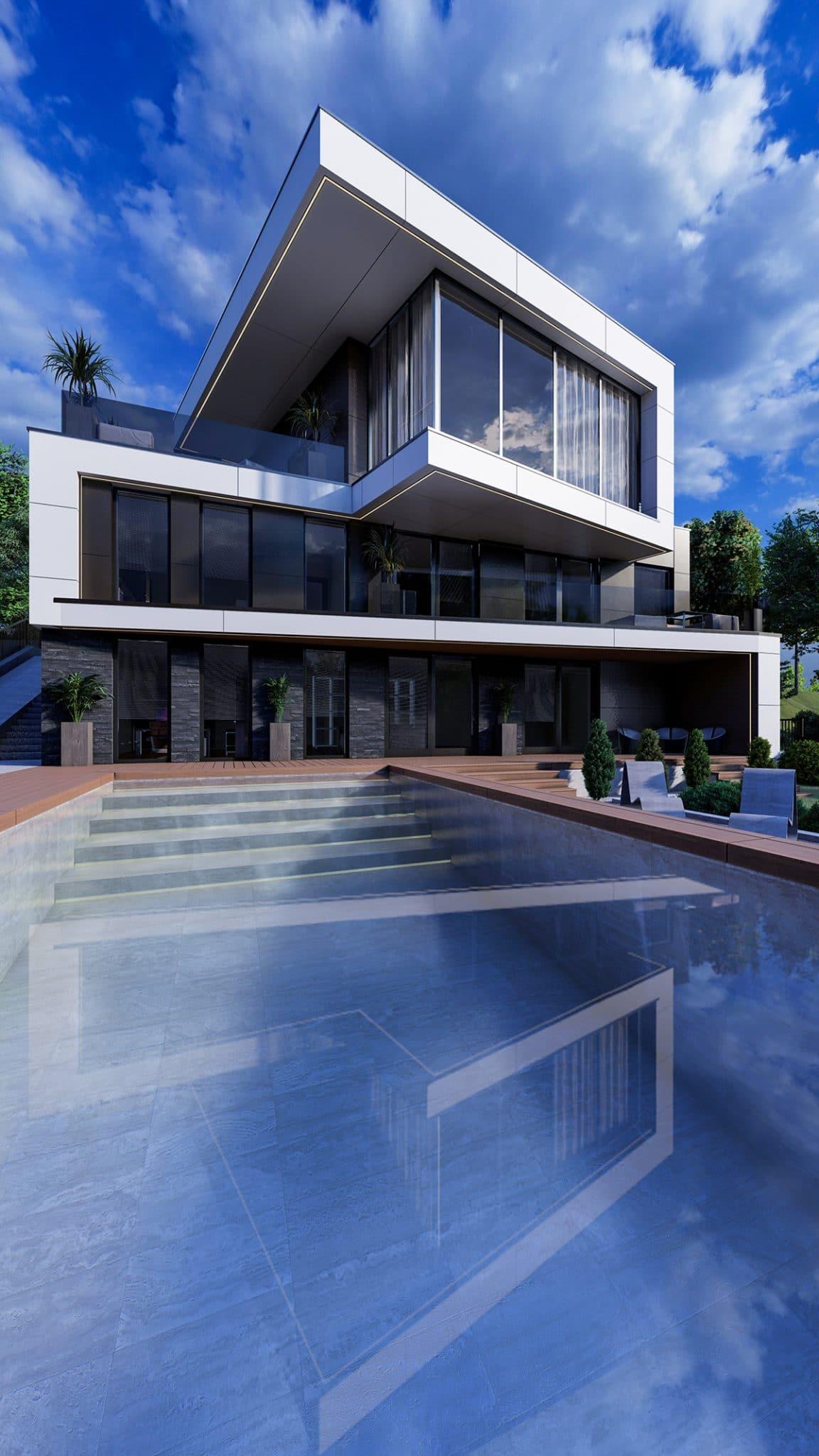 Proiectul casei in stil modern cu bazin in chisinau