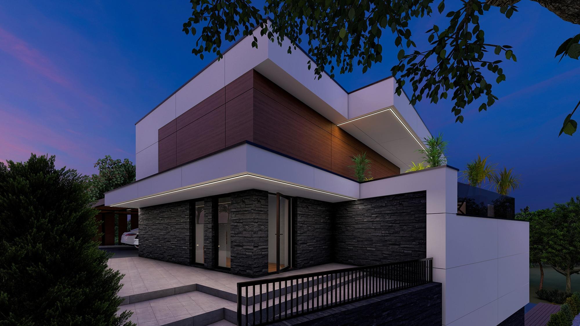 Proiect arhitectural stilului contemporan cu gradina si bazin