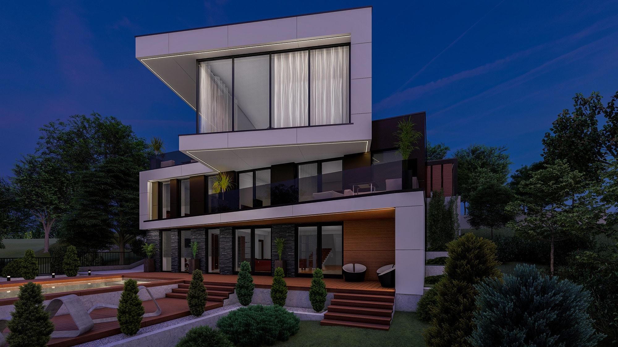 Proiect arhitectural stilului modern in designul casei contemporane cu gradina in curte si bazin la aer liber