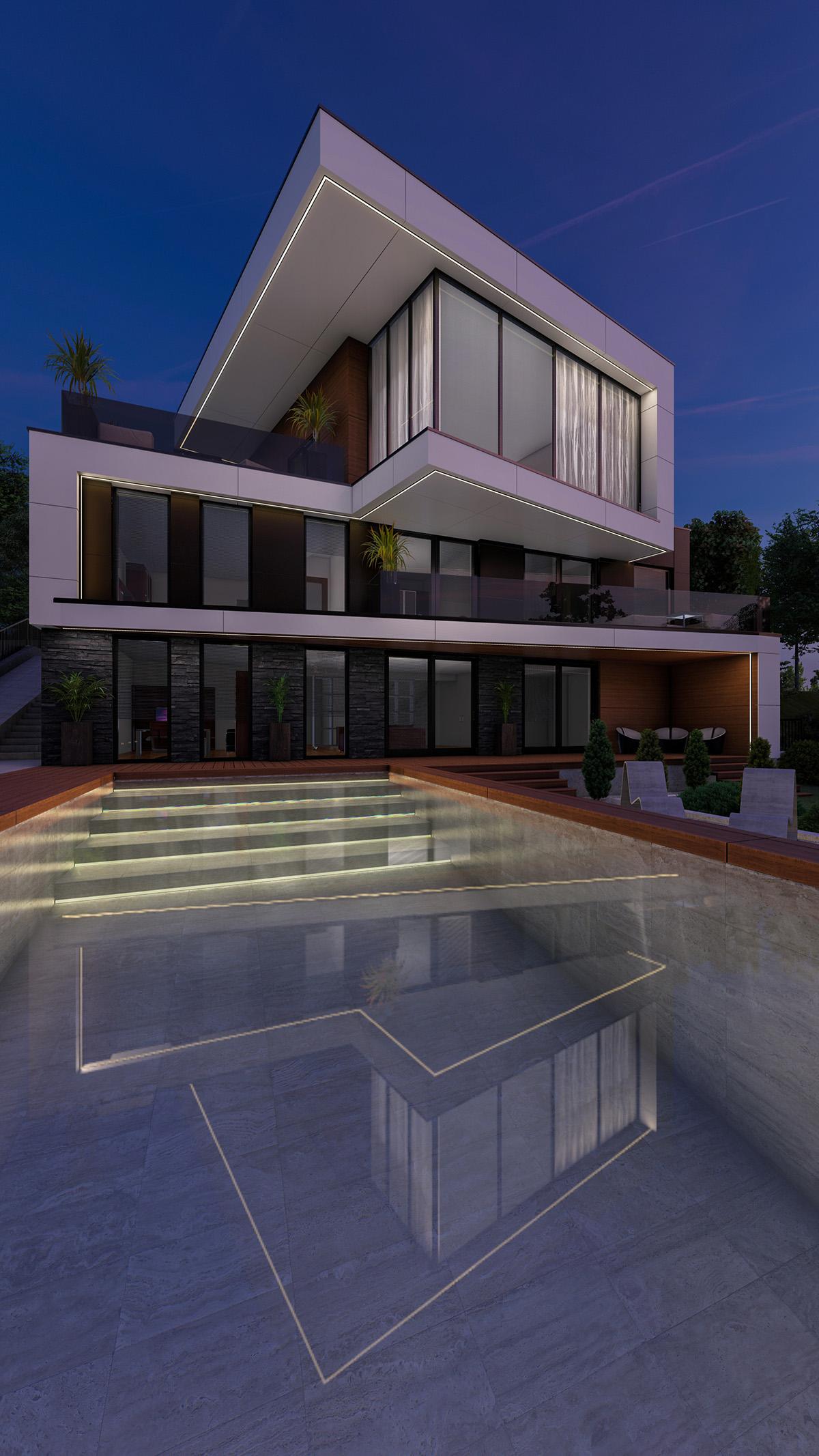Proiect arhitectural stilului modern in designul casei contemporane cu bazin la aer liber