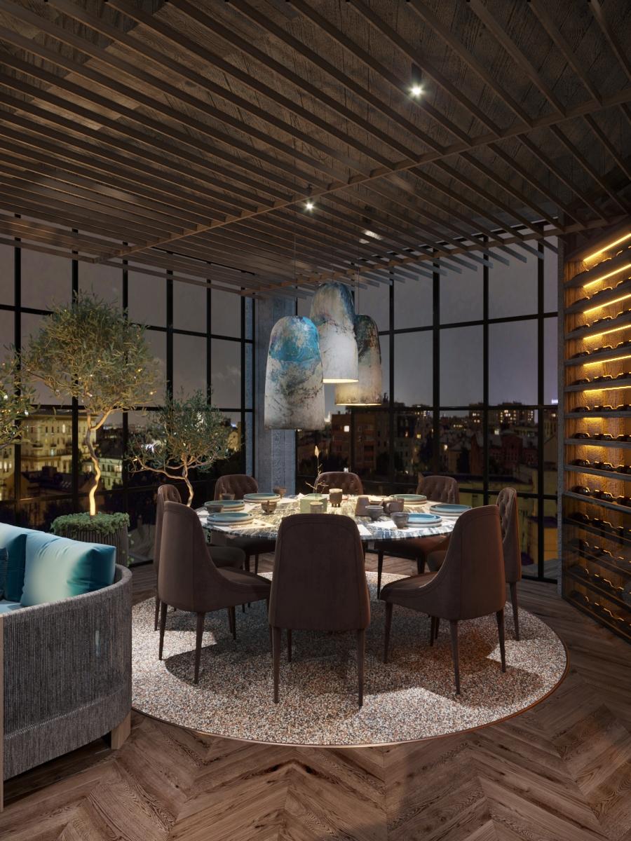 Interior design creativ pentru restaurant în chisinau, AB+partners