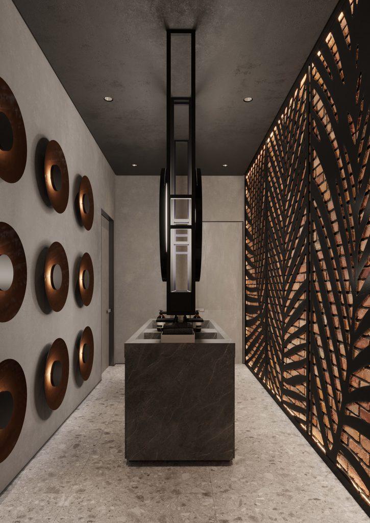 Design interior pentru camera de baie in rastaurant Chisinau