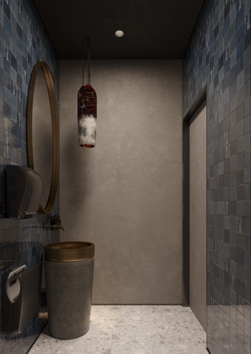 Bathroom design interior pentru restaurant Chisinau