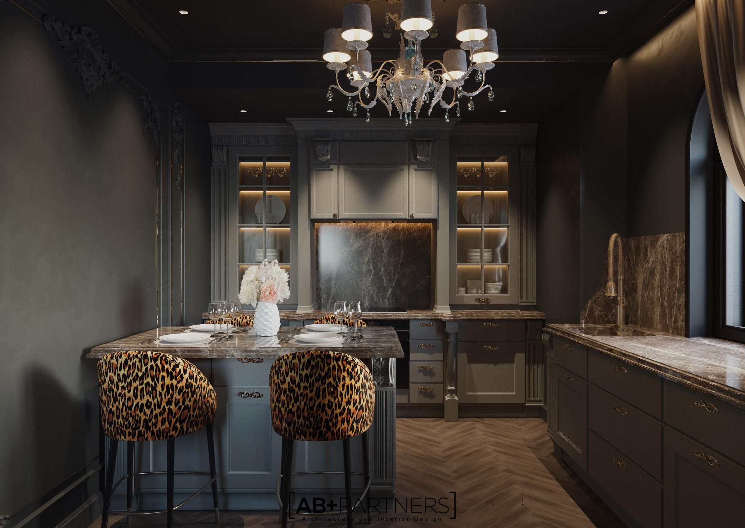Bucatarie, design de interior villa de lux