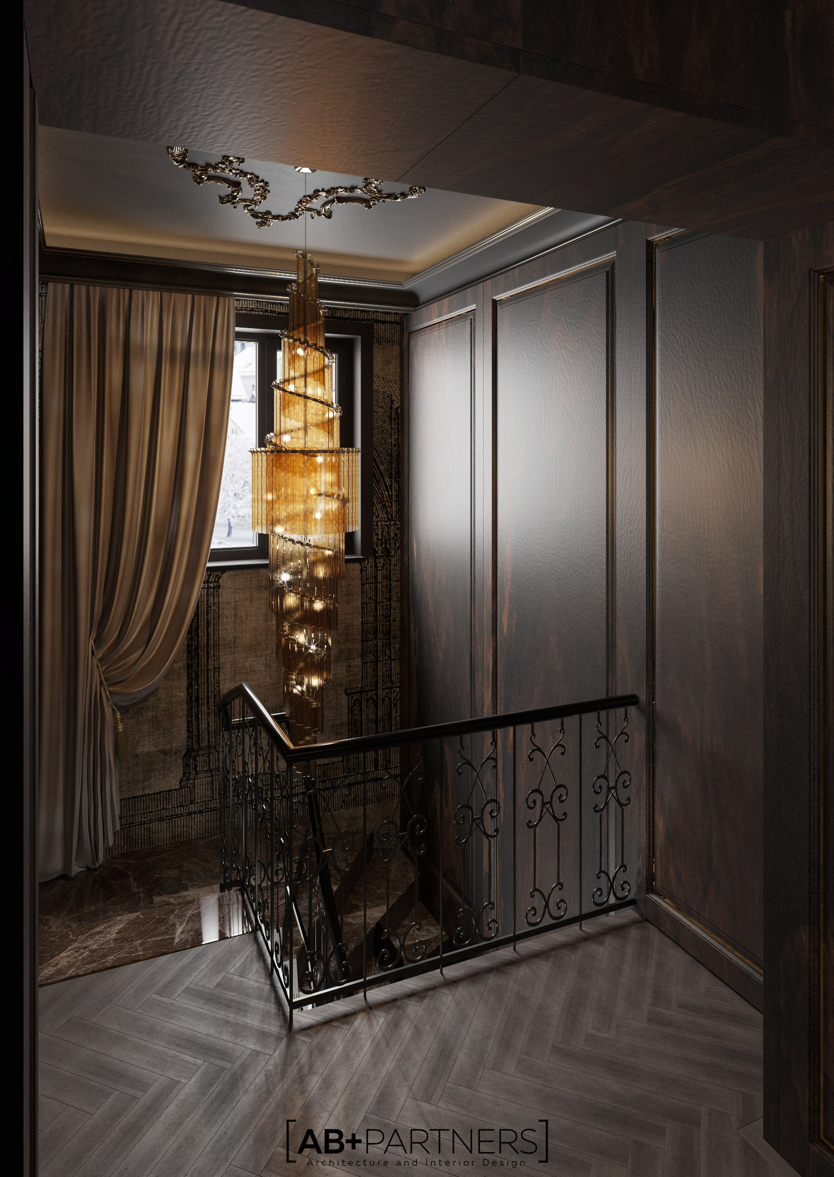 Scara care leaga doua nivele ale casei, design interior de la ab+partners