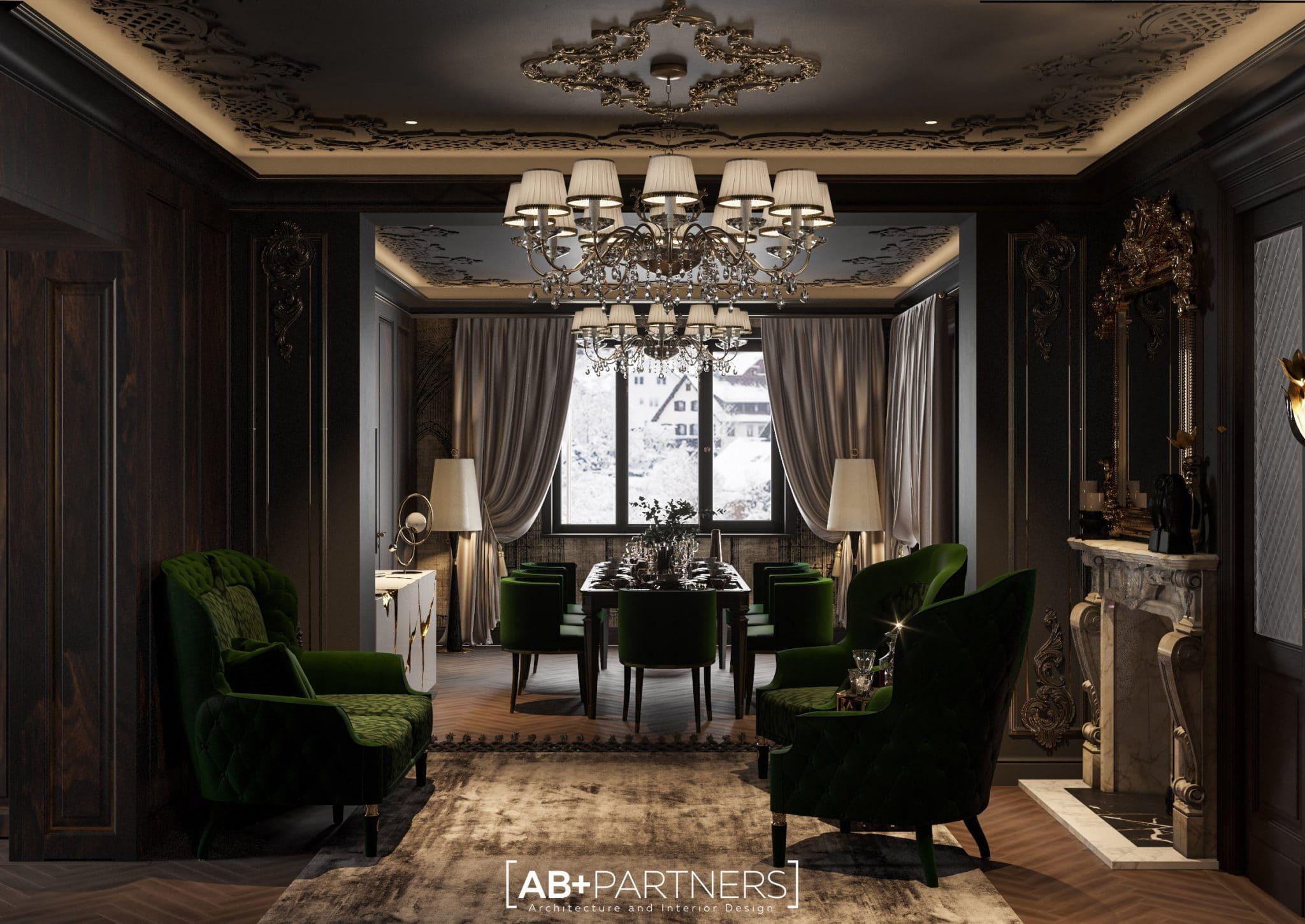 Interior in nuante inchise, lemn regal, pentru living room