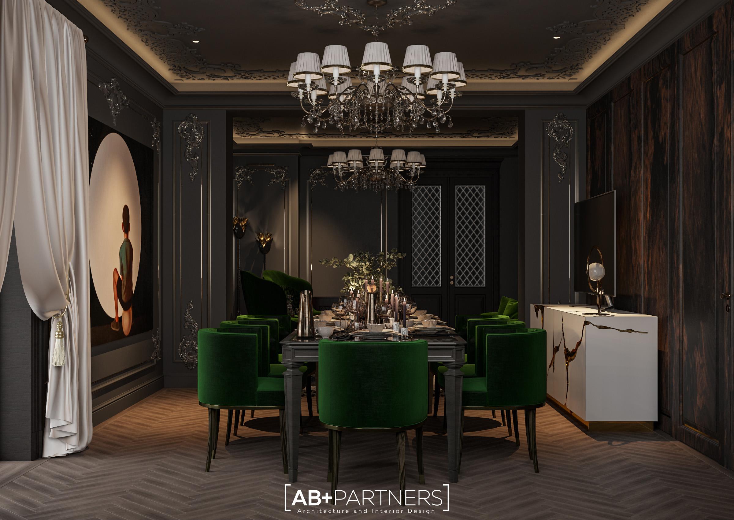 Design interior pentru sufrageria de la etajul 2, proiect de la ab+partners
