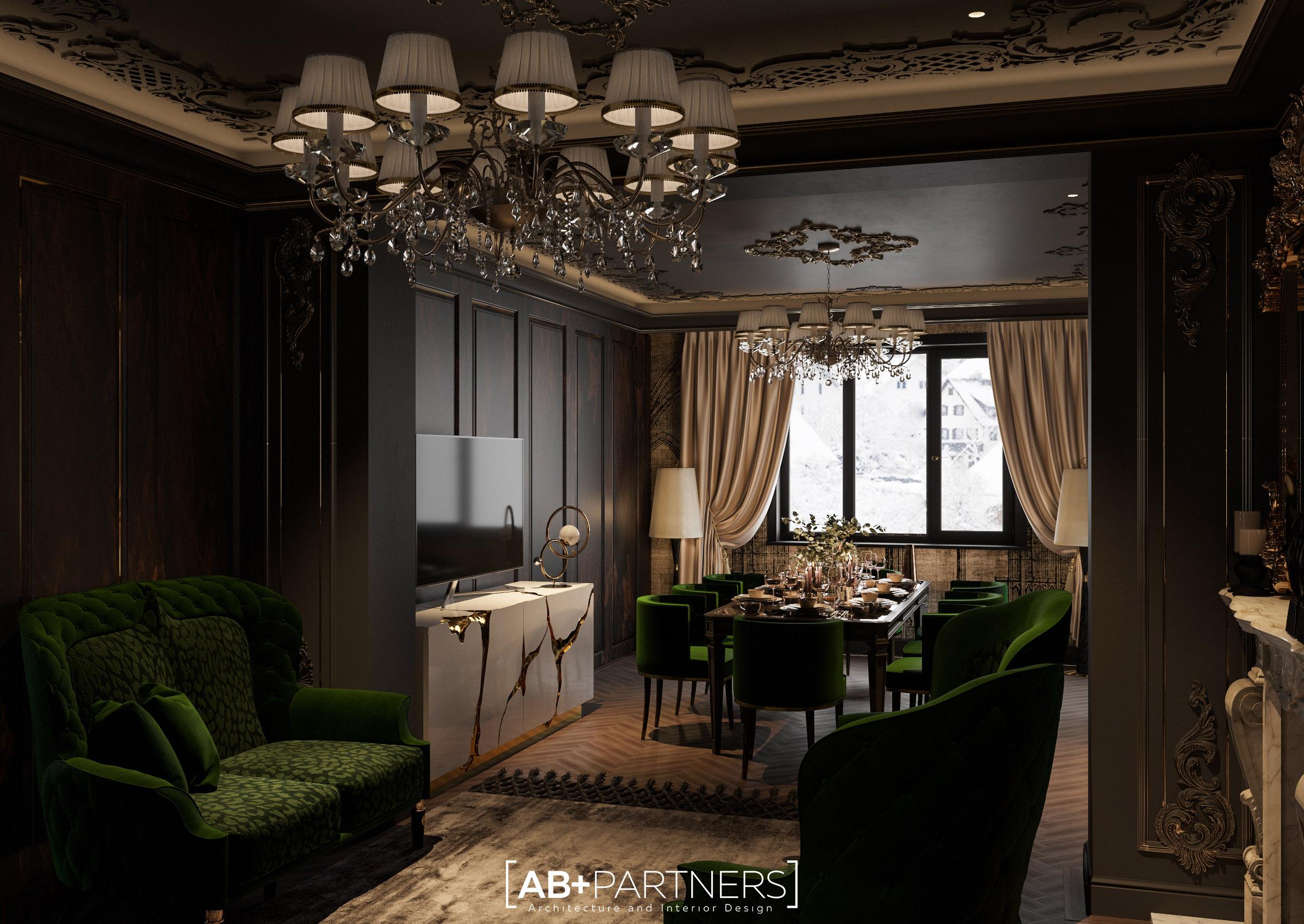 luxury desing interior pentru living room, sufragerie. Proiect de la ab+partners