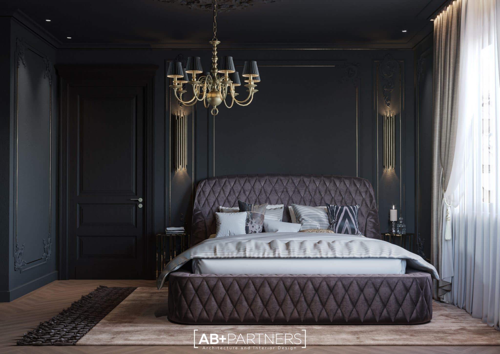 Design interior in nuante gri cu geamuri panoramice, dormitor etajul 3