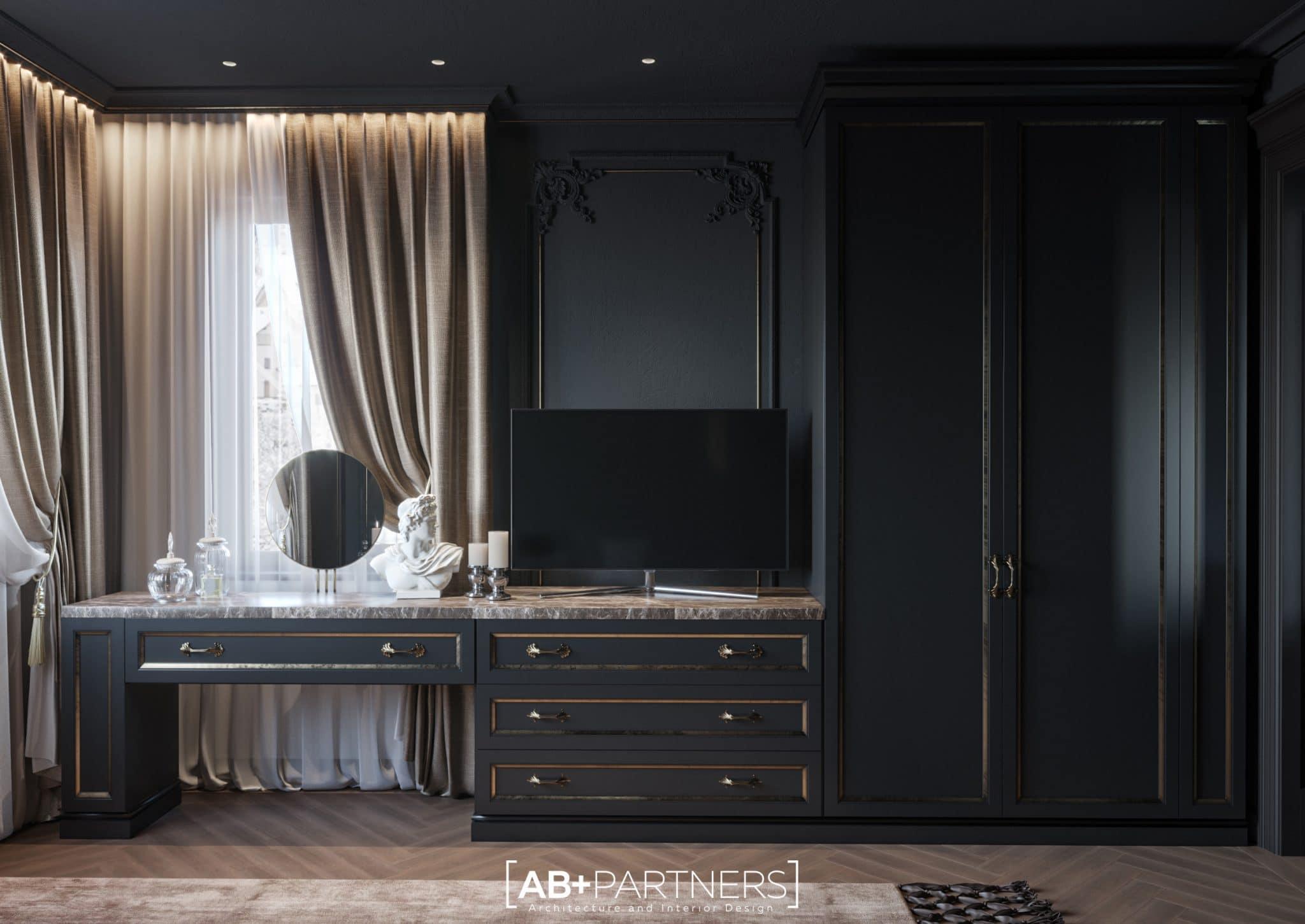 Mobilier in nuante gri si auriu pentru design de interior dormitor