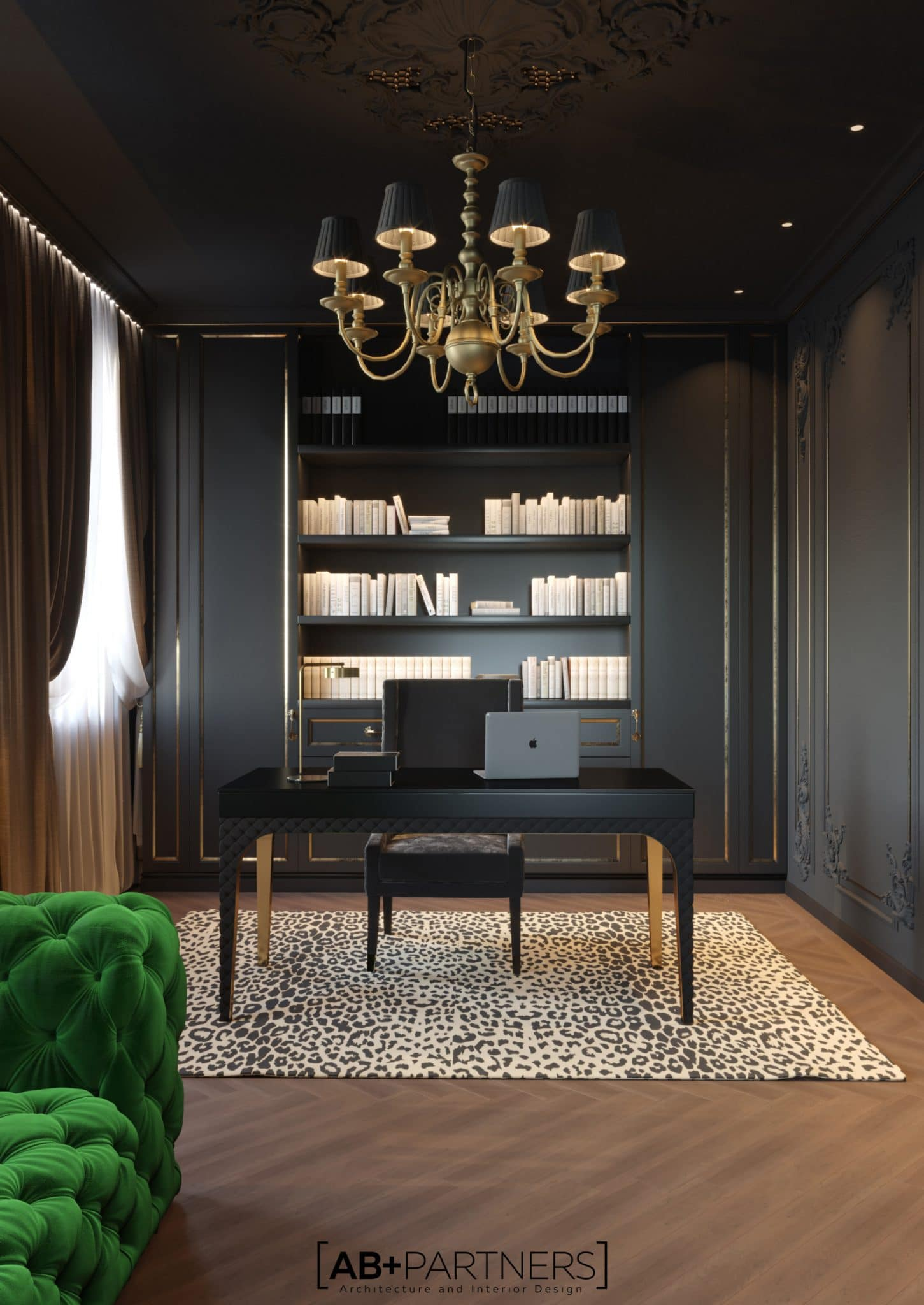 Design inetrior pentru camera de oficiu la villa de lux