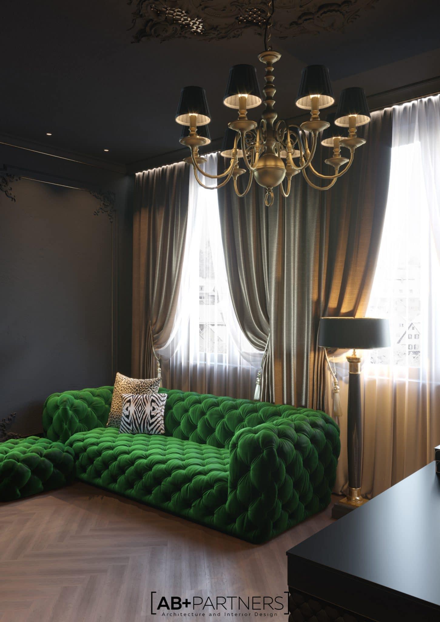 Canapea in culoarea verde pentru oficiu de acasa, proiect de design de la ab+partners