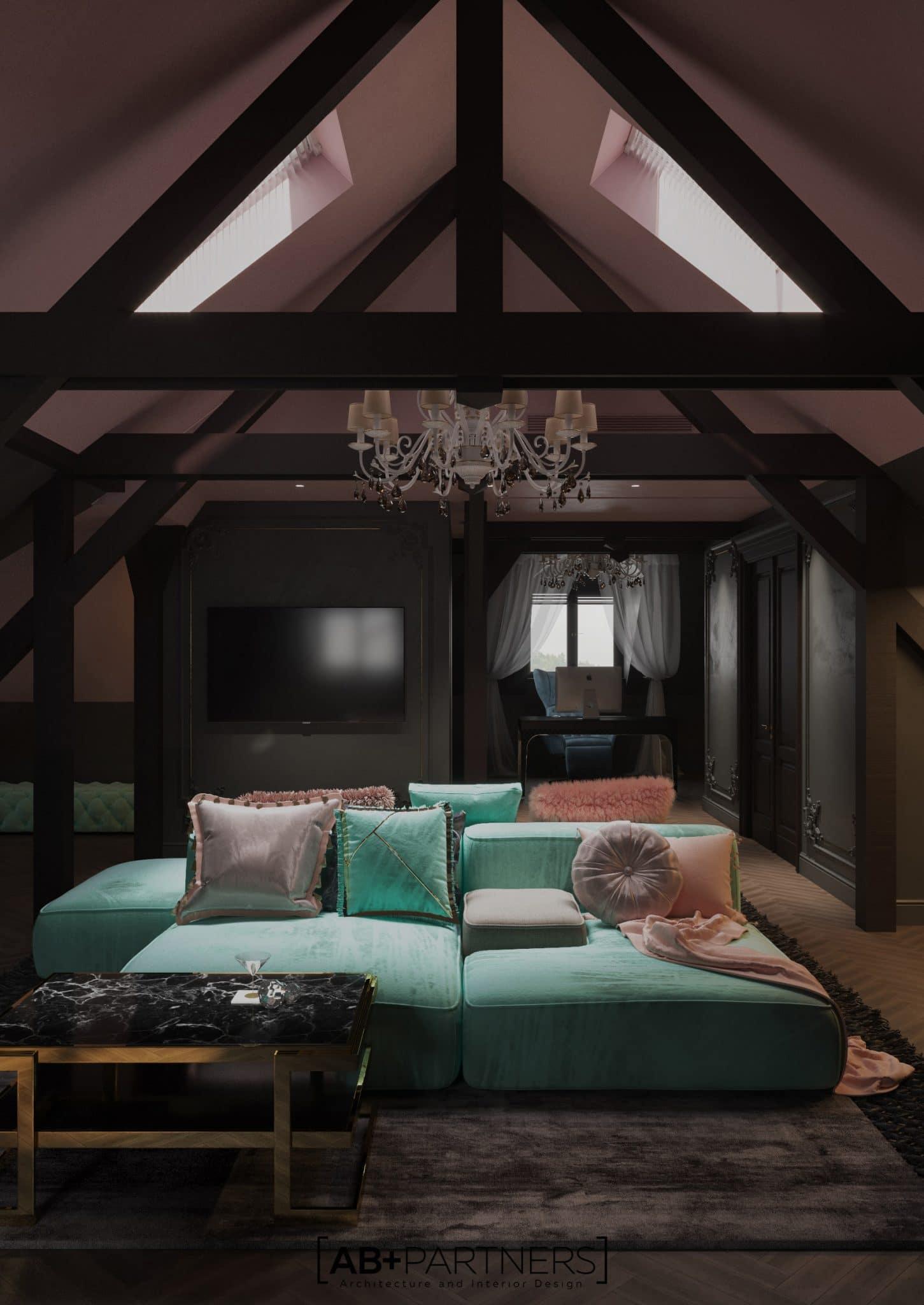 Mansarda in combinatie de culori menta si roz, proiect de design de la ab+partners