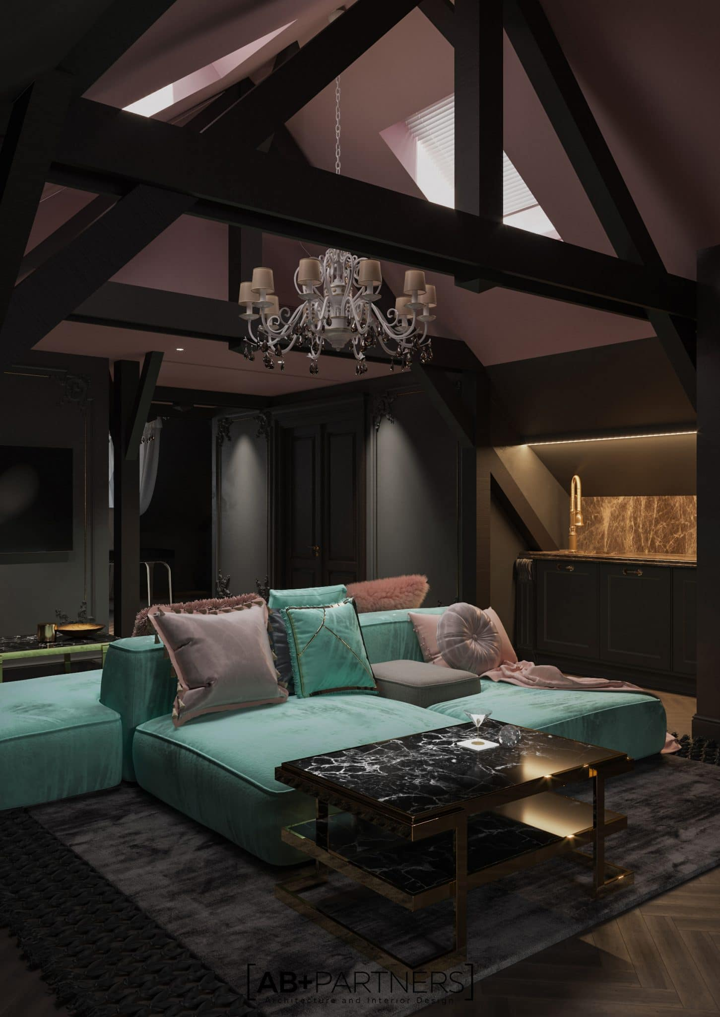 mansarda camera de living room in nuante de menta si roz, ab and partners