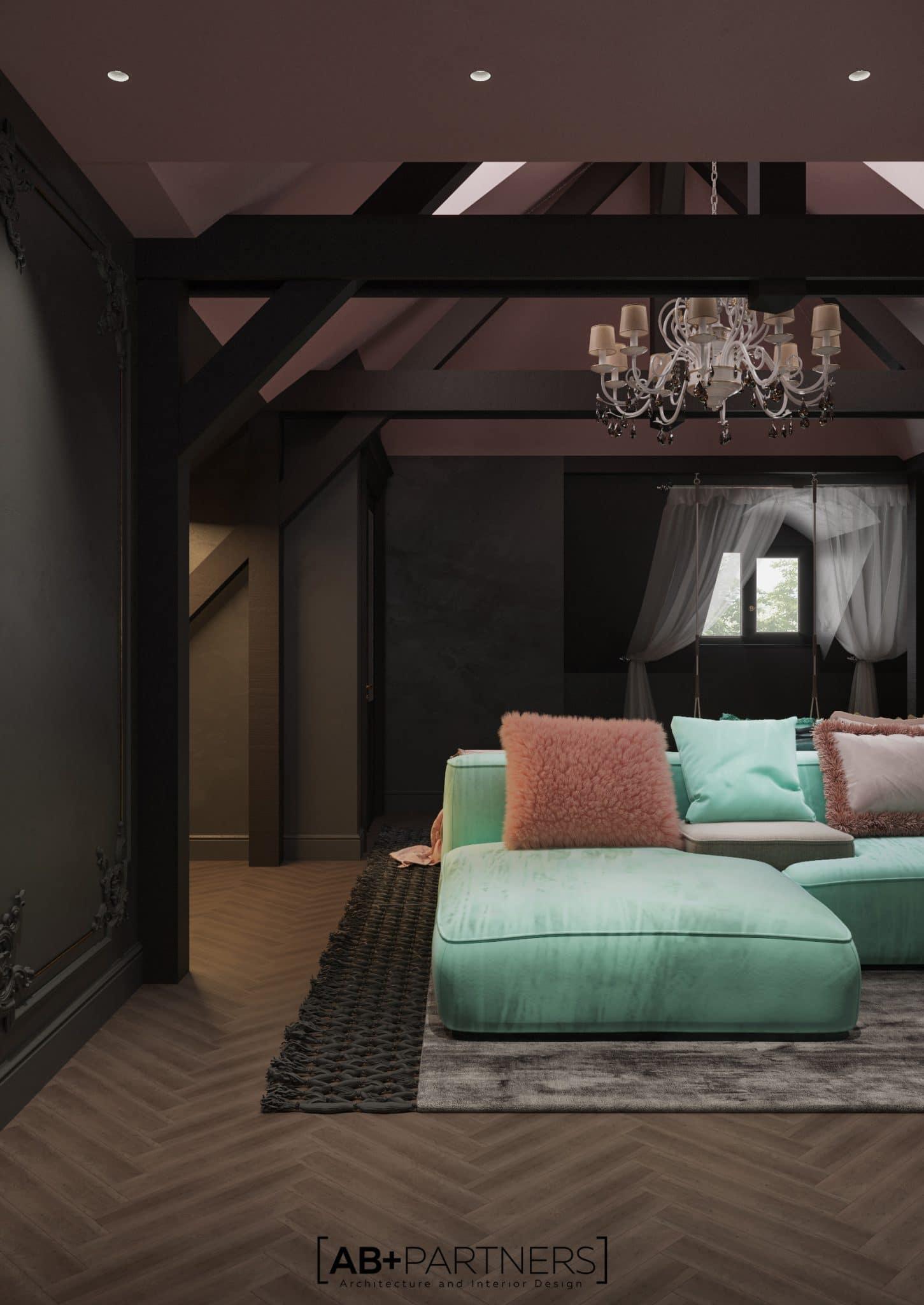 Living room cu sufragerie, design interior de la biroul de arhitectura ab and partners
