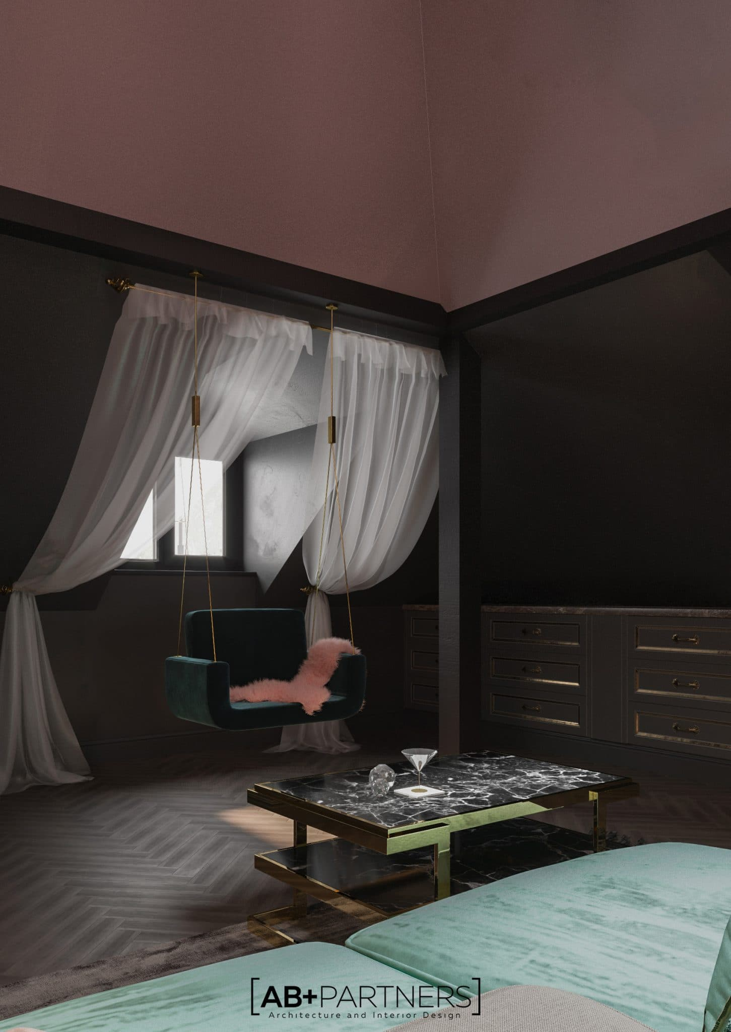 Design interior pentru mansarda moderna in villa de lux Bucuresti de la ab and partners