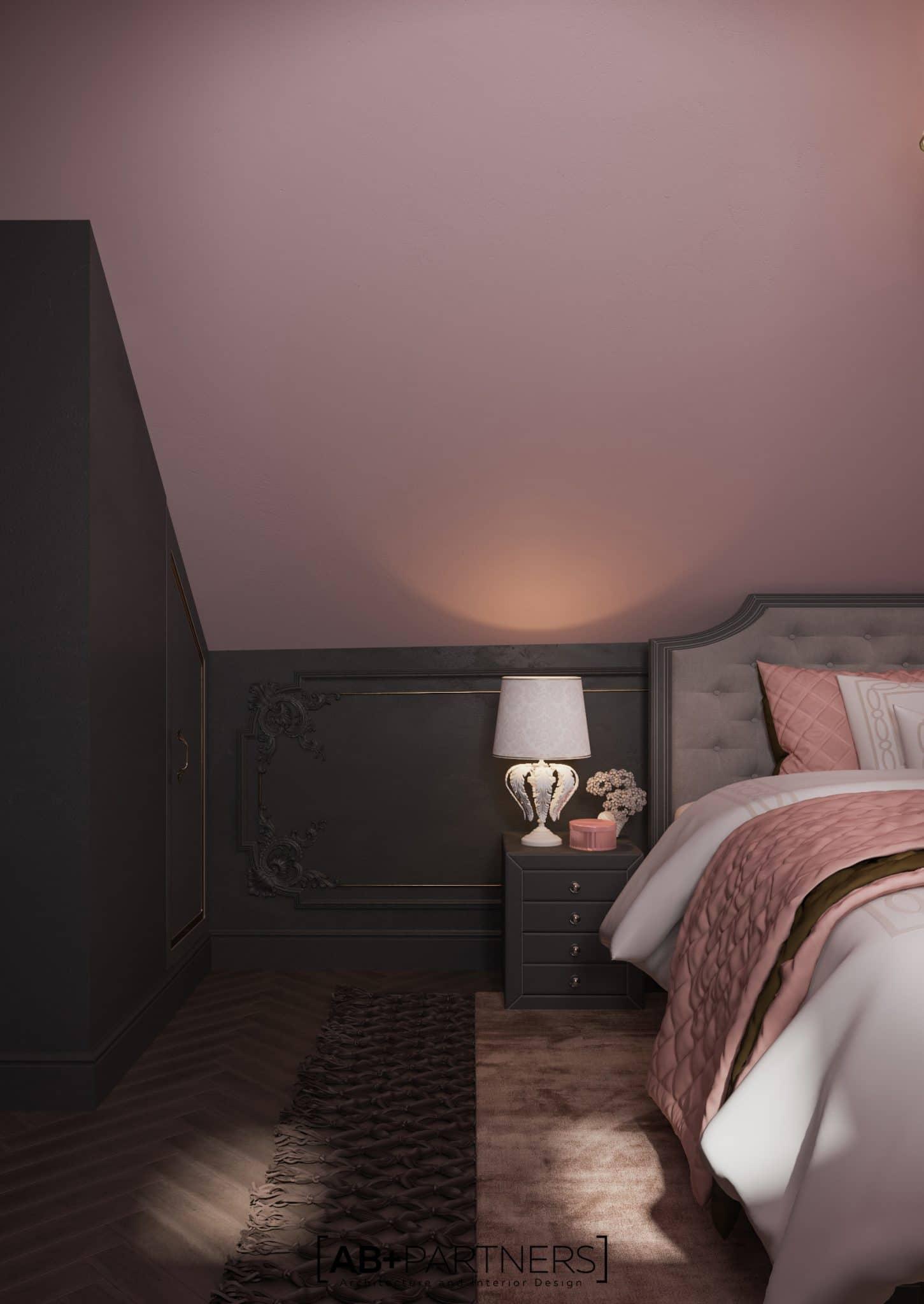 Dormitor la mansarda, design interior modern