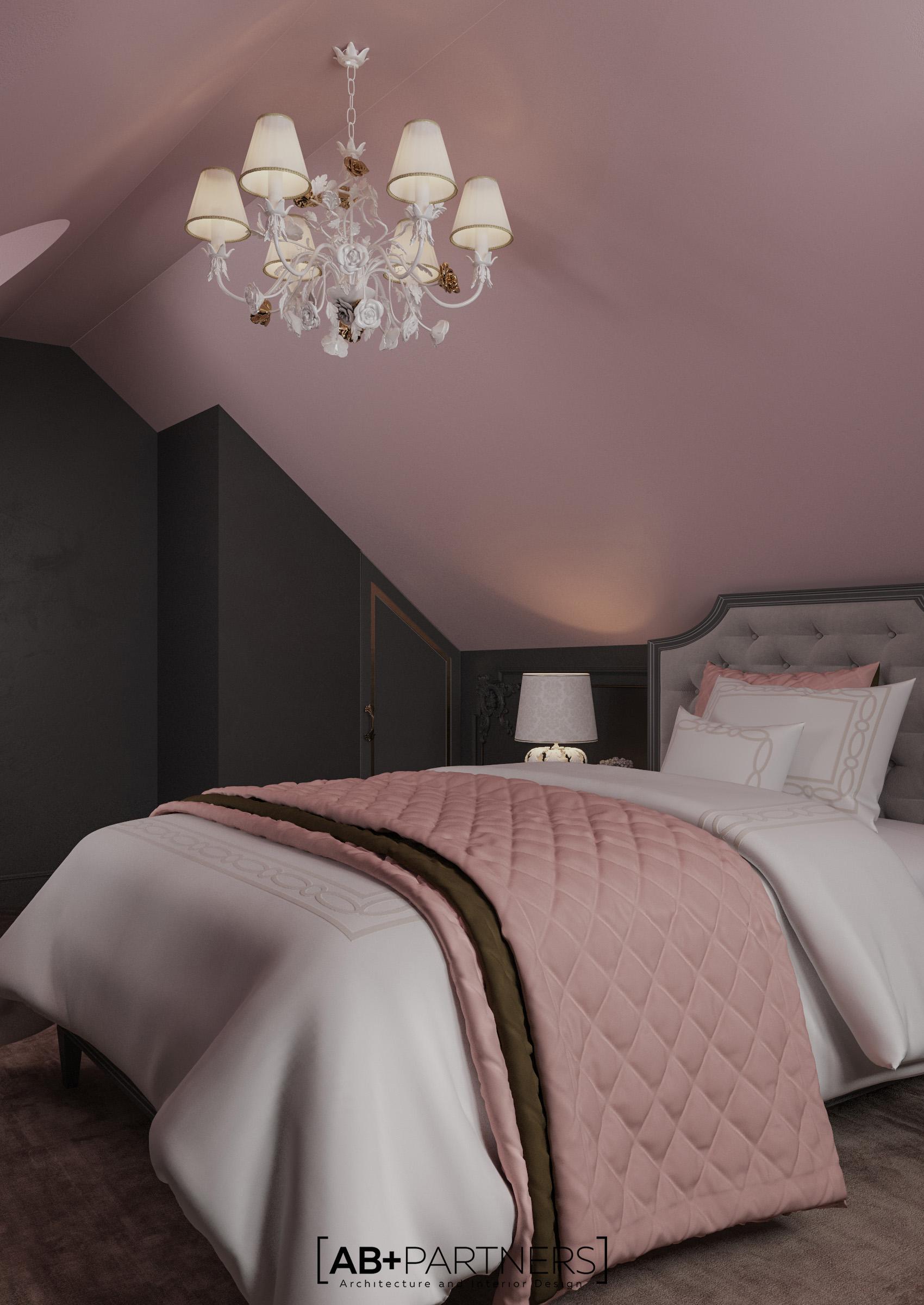 Dormitor spatios la mansarda, proiect de design de la ab+partners